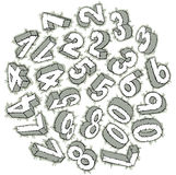 Hand drawn 3D numbers Stock Photography