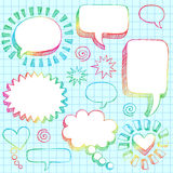 Hand-Drawn 3D Speech Bubbles Sketchy Doodles. Hand-Drawn Sketchy Notebook (Sketchbook) Doodles Vector Illustration of 3-D Comic Book Style Speech Bubbles. Design Stock Photos