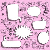 Hand-Drawn 3D Speech Bubbles Sketchy Doodles. Hand-Drawn Sketchy Notebook (Sketchbook) Doodles Vector Illustration of 3-D Comic Book Style Speech Bubbles. Design Stock Images