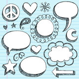 Hand-Drawn 3D Speech Bubbles Sketchy Doodles. Hand-Drawn Sketchy Notebook (Sketchbook) Doodles Vector Illustration of 3-D Comic Book Style Speech Bubbles. Design Stock Image