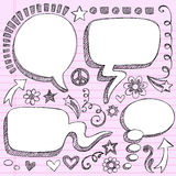 Hand-Drawn 3D Speech Bubbles Sketchy Doodles. Hand-Drawn Sketchy Notebook (Sketchbook) Doodles Vector Illustration of 3-D Comic Book Style Speech Bubbles. Design royalty free illustration
