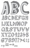 Hand drawn abc. Font, 3D, alphabet Stock Photography