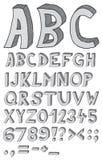 Hand drawn abc. Font, 3D, alphabet royalty free illustration