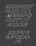 Hand-drawn ABC-brieven, op zwarte achtergrond worden geïsoleerd die Hand getrokken inkt 3d doopvont, funky en grunge alfabet, gra Stock Afbeeldingen