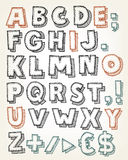 Hand Drawn ABC Elements. Illustration of a set of hand drawn sketched and doodled ABC letters and font characters also containing dollar and euro currency stock illustration