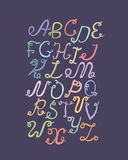 Hand drawn ABC funky letters, isolated on light background. Hand drawn colorful alphabet,  illustration. Font based on swirl Stock Photo