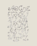 Hand-drawn ABC funky letters, isolated on light background. Hand drawn grunge alphabet,  illustration. Font based on swirl, Royalty Free Stock Image