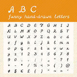 Hand drawn ABC - funny alphabet letters Stock Photography