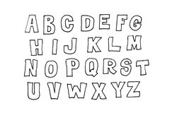 Hand drawn abc, letters over white Stock Image