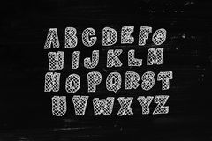 Hand drawn abc over black chalkboard Royalty Free Stock Photos