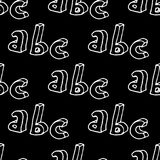 Hand drawn Abc seamless pattern. 3d hand drawn letters seamless pattern. Vector background illustration in white over black Stock Images