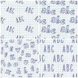 Hand drawn Abc seamless patterns set. Hand drawn letters seamless patterns set. Vector background illustration in blue over chequered notebook sheet. Education royalty free illustration