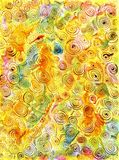 Hand-drawn Abstract Background with Spirals on Yellow Green Pink Royalty Free Stock Images