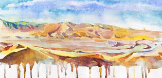 Hand drawn abstract background. Watercolor desert and sky illustration Royalty Free Stock Photography