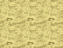 Hand drawn abstract camouflage khaki seamless pattern, vector illustration Royalty Free Stock Image