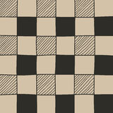 Hand drawn abstract chessboard pattern. Stock Image