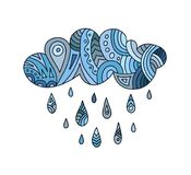 Hand-drawn abstract cloud with raining. Vector doodle design elements. Vector hand drawn painted cloud with drops. Doodle cartoon rain cloud. Design elements for vector illustration