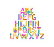 Hand drawn abstract colorful alphabet. Geometric letters from A to Z. Isolated on white background. Vector colorful. Hand drawn abstract colorful alphabet vector illustration