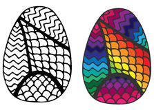Hand drawn abstract Easter egg for coloring book Stock Photos