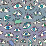 Hand drawn abstract eyes pattern. Sight seamless  background. Modern texture for wallpaper, wrapping paper, textile design,. Hand drawn abstract eyes pattern Stock Photography