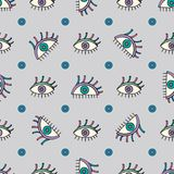 Hand drawn abstract eyes pattern. Sight seamless  background. Modern texture for wallpaper, wrapping paper, textile design,. Hand drawn abstract eyes pattern Stock Photo
