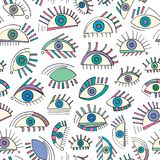 Hand drawn abstract eyes pattern. Sight seamless  background. Modern texture for wallpaper, wrapping paper, textile design,. Hand drawn abstract eyes pattern Stock Images