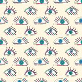 Hand drawn abstract eyes pattern. Sight seamless vector background. Modern texture for wallpaper, wrapping paper Royalty Free Stock Images