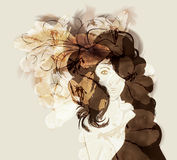 Hand drawn abstract fashion illustration. Hand drawn abstract woman fashion illustration with flowers Stock Photography