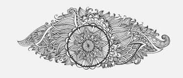 Hand-drawn Abstract  floral with ethnic ornaments doodle pattern. Stock Images