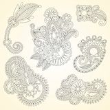 Hand drawn abstract flowers Stock Image