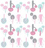 Hand drawn abstract flowers repeat pattern. Seamless Stock Image