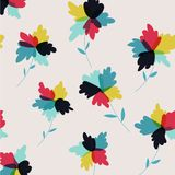Hand drawn abstract flowers retro background vector illustration Stock Image