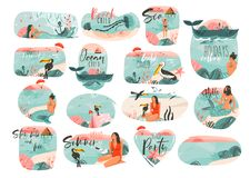 Hand drawn  abstract graphic cartoon summer time flat illustrations sign big collection set with girl,mermaid,camping tent,t Royalty Free Stock Photography