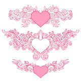 Hand-Drawn Abstract Hearts Royalty Free Stock Images