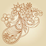 Hand-Drawn Abstract Henna Mehndi Stock Photos