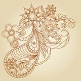 Hand-Drawn Abstract Henna Mehndi Stock Photos