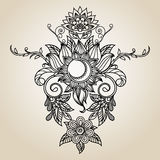 Hand-Drawn Abstract Henna Mehndi Abstract Flowers en Paisley Royalty-vrije Stock Afbeelding