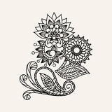 Hand-Drawn Abstract Henna Mehndi Abstract Flowers en Paisley royalty-vrije illustratie