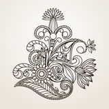 Hand-Drawn Abstract Henna Mehndi Abstract Flowers en Paisley Stock Foto
