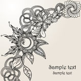Hand-Drawn Abstract Henna Mehndi Abstract Flowers en Paisley Royalty-vrije Stock Fotografie
