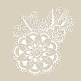 Hand-Drawn Abstract Henna Mehndi Flower Ornament Stock Image