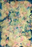Hand drawn abstract iimpressionistic flower artwork in acrylic and watercolor paints style with pink, blue, green and. Hand drawn abstract impressionistic stock illustration