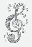 Hand-drawn Abstract krabbelpatroon Stock Foto