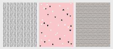 Hand Drawn Abstract Lines and Triangles Vector Patterns Set. 3 Various Design. Pink, Grey and Black Colors. vector illustration