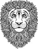 Hand drawn abstract lion illustration. Black and white hand drawn abstract lion vector illustration with patterned mane vector illustration