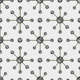 Hand drawn abstract molecule structure background, seamless pattern. Stock Photo