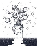 Hand drawn abstract mystery tree on the moon in deep space. Stock Images