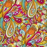 Hand-Drawn Abstract Naadloos Patroon met uitstekend-Gekleurde Krommen Royalty-vrije Stock Foto's