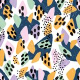 Abstract pattern summer. Hand drawn abstract pattern in trendy colours.  Simple textured shapes are perfect design for fashion, fabric, wrapping paper, textile vector illustration