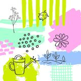 Hand drawn abstract quirky spring easter paint brush art stroke textured and outlined collage card background with watering can fl. Owers and plants twigs Stock Photos